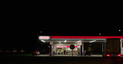 Highway filling station night Netherlands Stock Footage