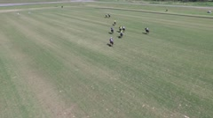 Aerial pan polo match scene Stock Footage