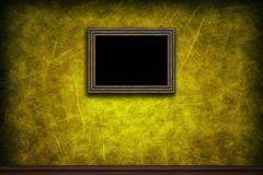 Old wooden frame on yellow retro grunge wall - stock illustration