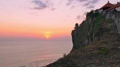 famous landmark tourist attraction uluwatu sea temple sunset - stock footage