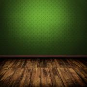 Dark vintage green room interior with wooden floor Stock Illustration