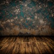 Grunge industrial interior with wooden floor and old damaged wall - stock illustration