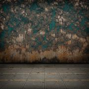 Stock Illustration of Grunge industrial interior with metal floor and old damaged wall