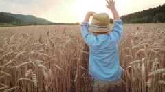 Little boy on the wheat field - slow motion Stock Footage