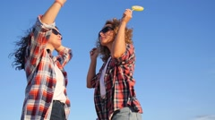 Happy Excited Funky Girls Dancing in Summer Outdoors Stock Footage