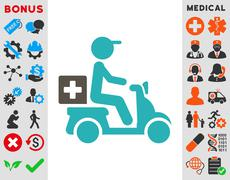 Drugs Motorbike Delivery Icon Stock Illustration