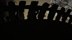 Haloween at The Yard Black Cats on the Fence Horror Stories Spiders on a Cobweb Stock Footage