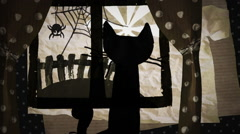 Haloween Black Cat is Looking at The Yard Through the Window Horror Stories Stock Footage