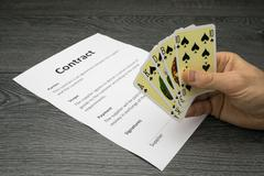 Conceptual illustration of winning or getting the contract - stock photo