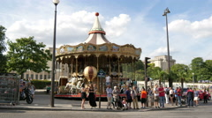 A beautiful old carousel the Avenue Des Nations Unies, Paris Stock Footage