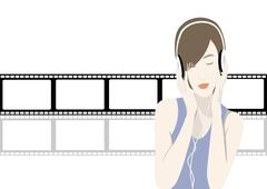 Happy young girl listening to the music - stock illustration