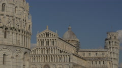 View of the three iconic buildings of Piazza dei Miracoli in Pisa Stock Footage