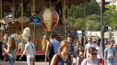 Parents with children next to the Trocadero Carousel, Paris Stock Footage
