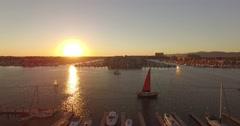 Aerial Drone footage of boats in Marina Del Rey, CA Stock Footage