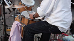 Drummer during the street concert in Milan - stock footage