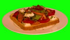 4k – Big sandwich with fresh vegetables and sheep cheese - stock footage