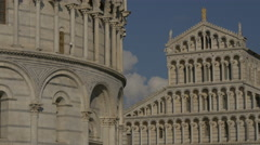 The Baptistery of St John and the Cathedral of Pisa - stock footage