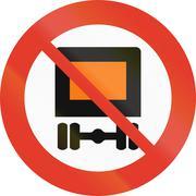 Norwegian regulatory road sign - No vehicles carrying dangerous goods - stock illustration