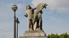 The Arab knight holding a horse statue at Jena Bridge, Paris - stock footage