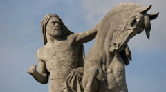 Arab knight holding a horse statue at Jena Bridge, Paris Stock Footage