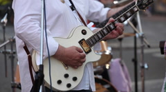Guitar player, street concert Stock Footage