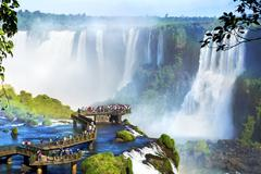 Iguazu Falls, on the border of Argentina and Brazil Stock Photos