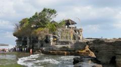 Bali landmark attraction tanah lot  sea temple Stock Footage
