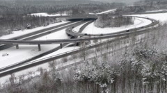 Crane shot of freeway intersection during winter, Stuttgart, Baden-Wuerttemberg, - stock footage