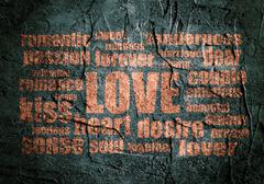 Stock Illustration of love words cloud on grunge concrete background