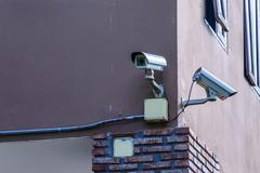 Stock Photo of Security camera for monitor events in city.