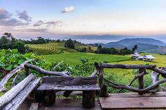 Wooden balcony for scenic of terraced rice field at Ban Pa Bong Piang, Mae Ja Stock Photos