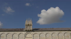 Small statues and sculpture on the Camposanto Monumentale roof in Pisa - stock footage