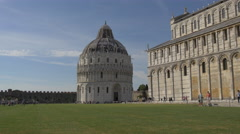 Camposanto Monumentale and the Baptistery of St John in Pisa Stock Footage