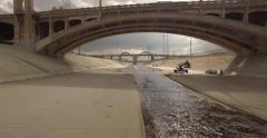 Aerial Drone Footage of the Los Angeles River at 6th Street Bridge Viaduct - stock footage