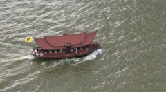 Thai Style Ferry On The Chaophraya River In Bangkok Stock Footage