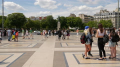 Tourists walking in the Esplanade du Trocadero on a suny day, Paris Stock Footage