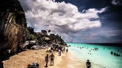 Tulum, Mexico ocean beach with rocky cliffs time lapse. - stock footage