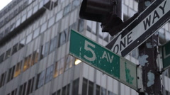 Fifth Ave street sign Stock Footage