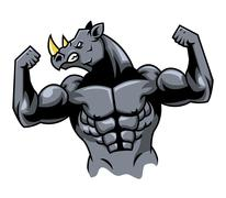 Muscular Rhino Stock Illustration