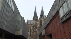 Medieval catholic gothic church Cologne Cathedral Stock Footage