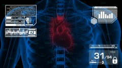 Stock Video Footage of Heart Analysis - Graphics - White 01