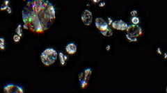 Slowly Falling Shiny Diamonds Stock Footage