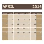 Stock Illustration of Calendar April 2016, week starts from Sunday
