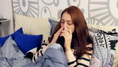 Stock Video Footage of Ill woman in bedroom using nasal pencil inhalation