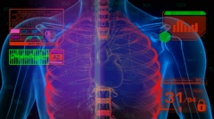 Lungs Analysis - Graphics - Red 01 - stock footage