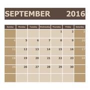 Calendar September 2016, week starts from Sunday Stock Illustration