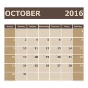 Calendar October 2016, week starts from Sunday - stock illustration