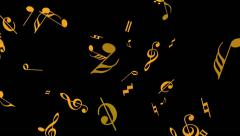 Flying Music Notes - Particle Animation - Background Loop - Yellow Stock Footage