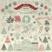 Hand Drawn Artistic Christmas Doodle Icons on Crumple Paper - stock illustration