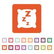 The pillow icon. Cushion and dream, sleeping, hotel, hostel symbol. Flat - stock illustration
